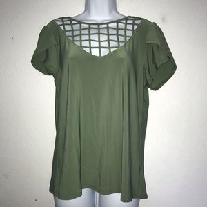 AUW Stretch Olive Cage Cap Sleeve Top S